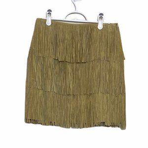 Boston Proper Tan Suede Fringe Mini Skirt